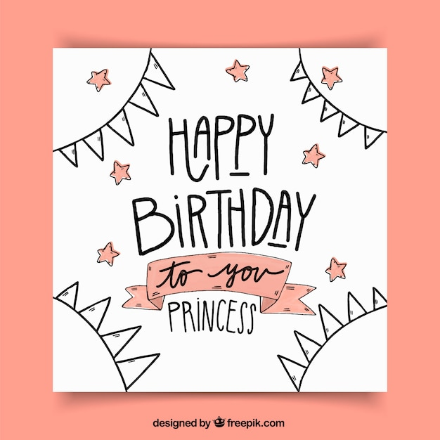 Birthday Greeting Card With Drawings And Stars Vector