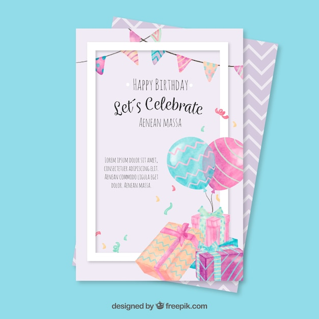 Birthday Greeting Card With Watercolor Elements Vector Free Download
