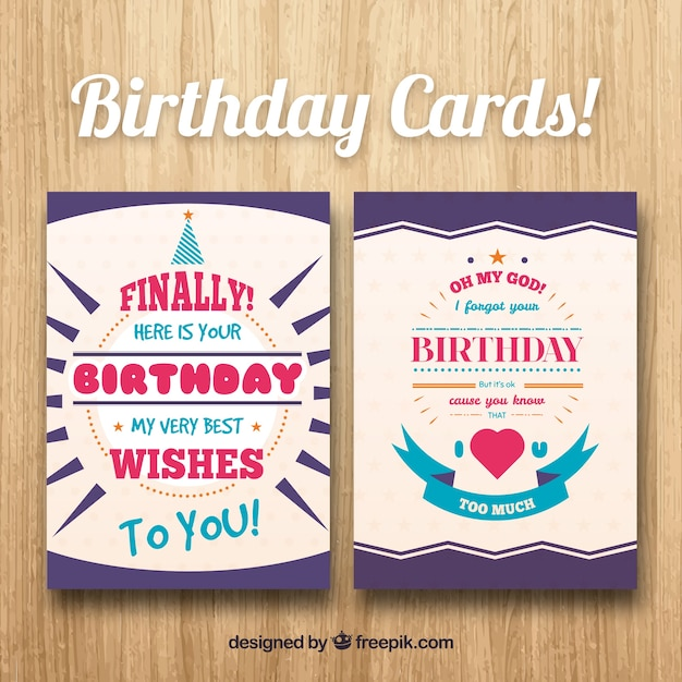 Birthday greeting cards in flat design vector free download birthday greeting cards in flat design free vector m4hsunfo Image collections