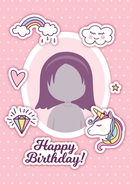 Birthday greeting with photo frame and cute stickers Premium Vector