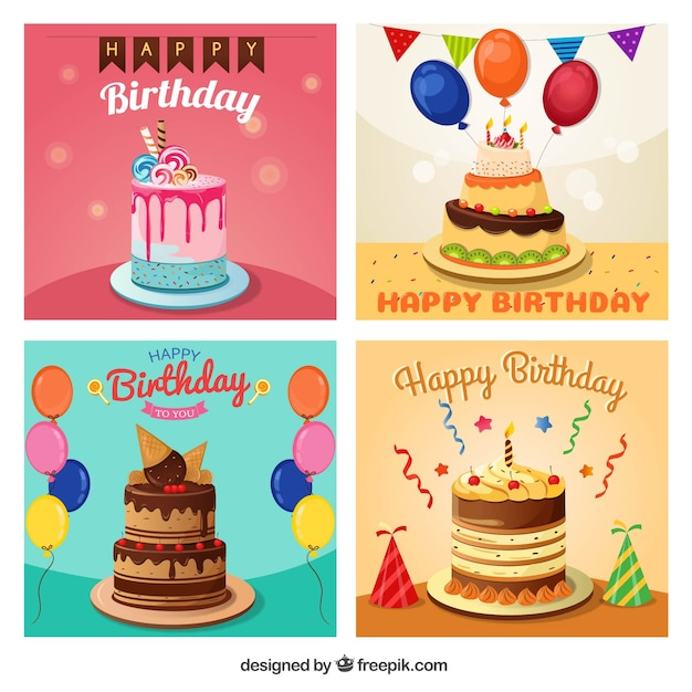 Birthday Greetings Pack With Delicious Cake Vector Free Download