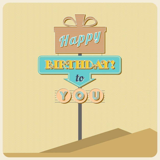 Birthday greetings sign. road sign in old style Premium Vector