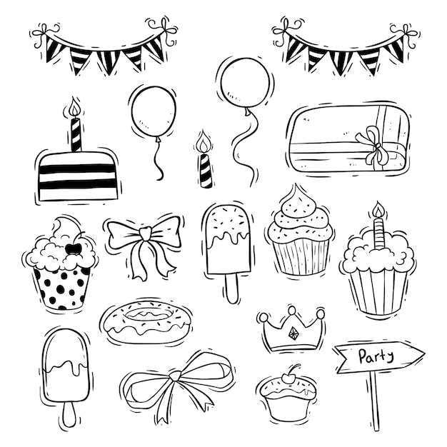 Birthday icons collection with cup cake, ice cream and balloon Premium Vector