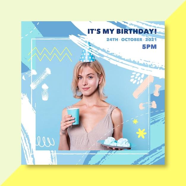 誕生日のinstagramの投稿テンプレート 無料ベクター