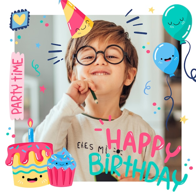 День рождения в instagram с счастливым ребенком и воздушными шарами Premium векторы