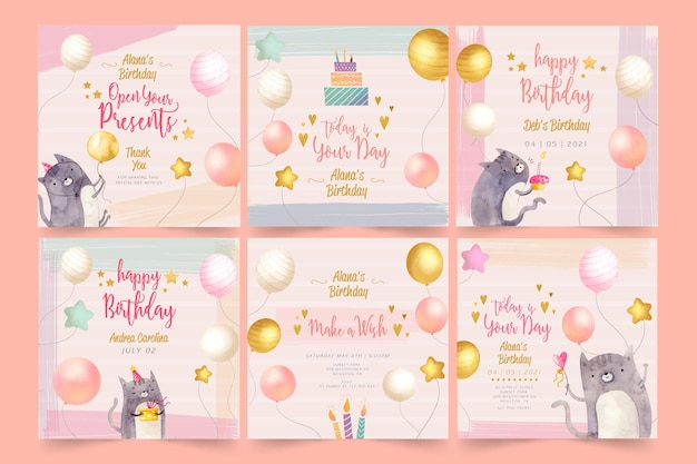 Birthday instagram posts template Free Vector