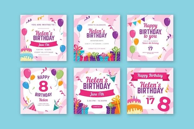 Birthday instagram posts Premium Vector