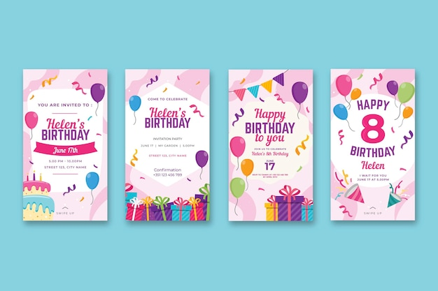 Birthday instagram stories Premium Vector