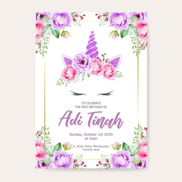 Birthday Invitation Card Template Cute Unicorn Graphic With
