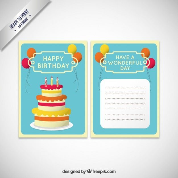 Birthday invitation card template with cake Vector – Free Birthday Invitation Cards Templates