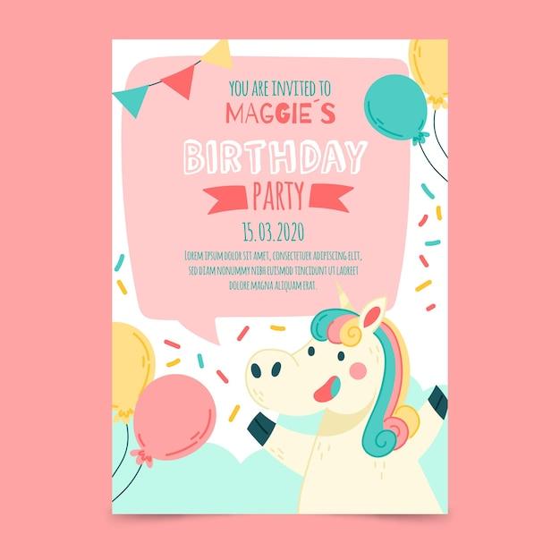 Birthday invitation card template Free Vector
