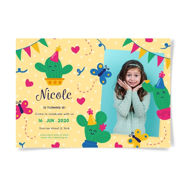 Birthday invitation card with cute girl Free Vector