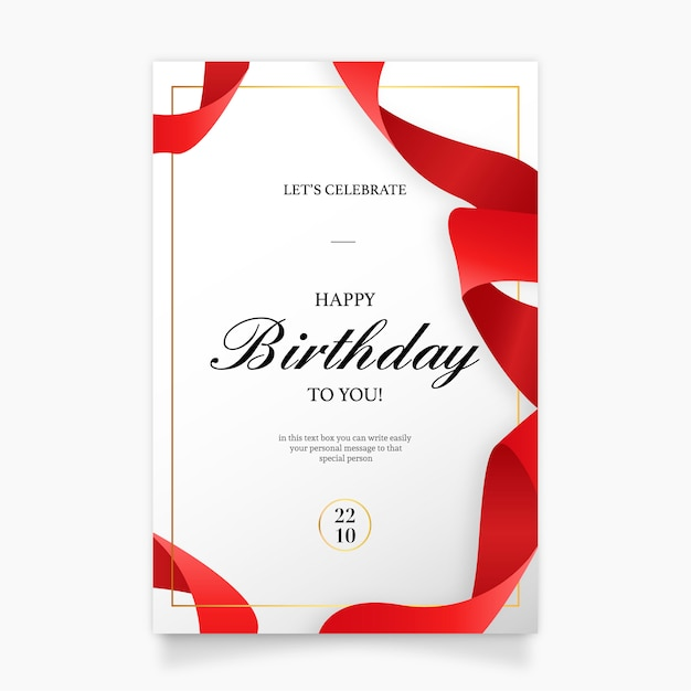 Birthday Invitation Card With Red Ribbon Vector