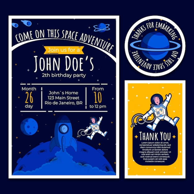 Birthday invitation card with space elements Premium Vector