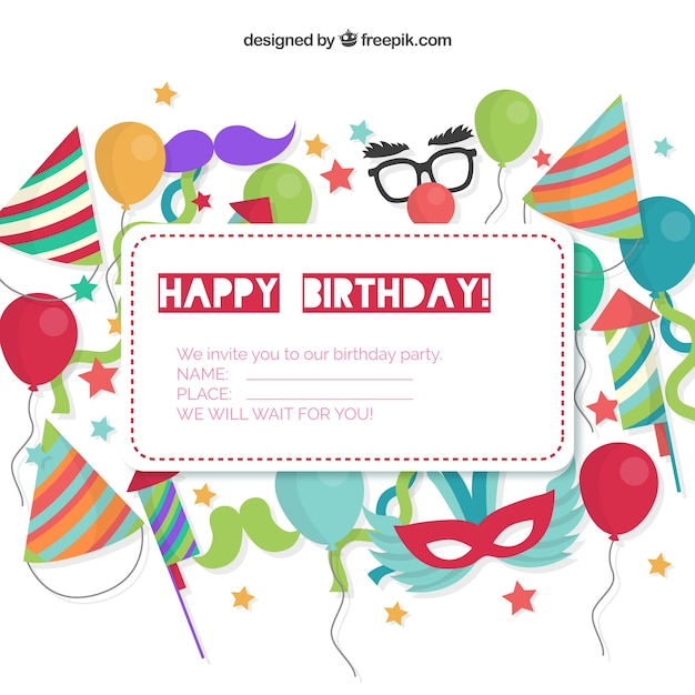Birthday Invitation Card Free Vector