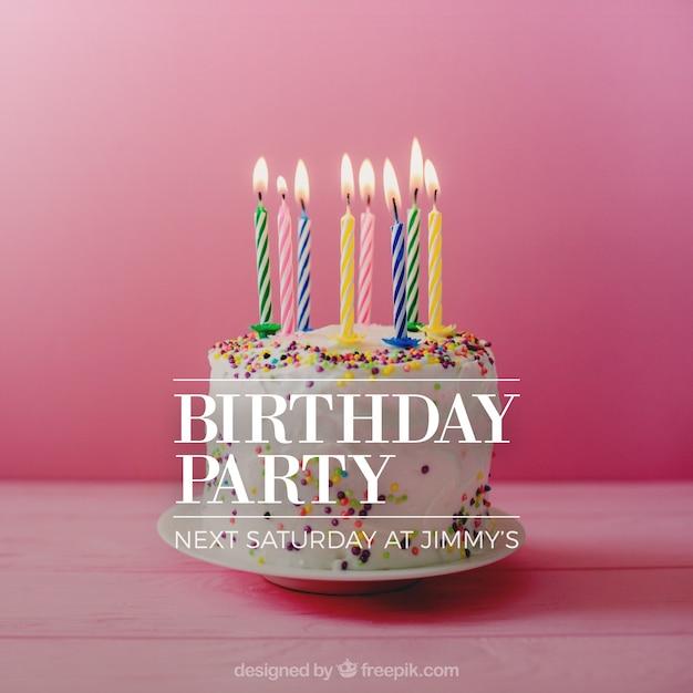 Birthday invitation design with cake Free Vector