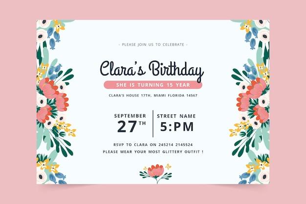 Birthday invitation design Free Vector
