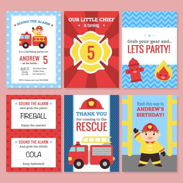 Birthday invitation firefighter theme Vector Free Download