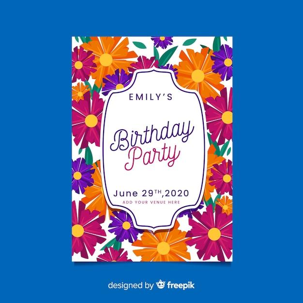 誕生日の招待状の花のデザインテンプレート 無料ベクター
