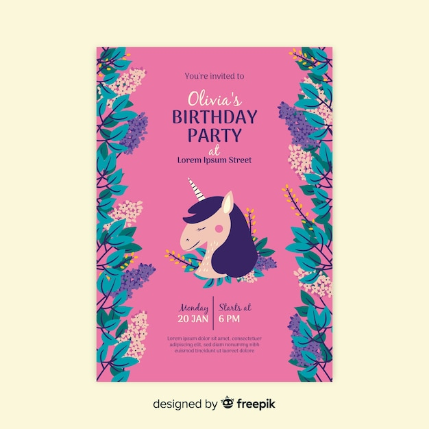 Birthday invitation floral template Free Vector