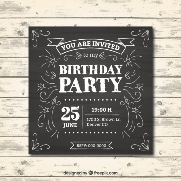 Birthday Invitation In Chalkboard Effect Vector Free Download