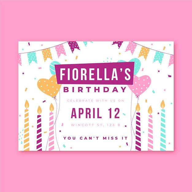 Birthday invitation party candles and confetti Free Vector