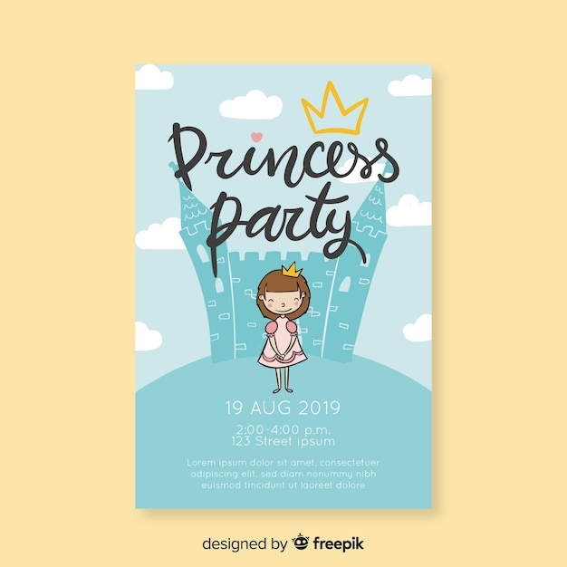 Birthday invitation princess in front of a castle Free Vector