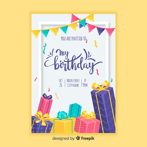 Birthday invitation template in flat style Premium Vector