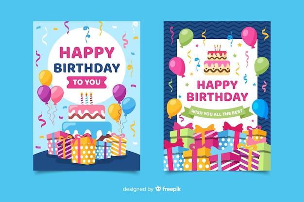 Birthday invitation template in flat style Free Vector