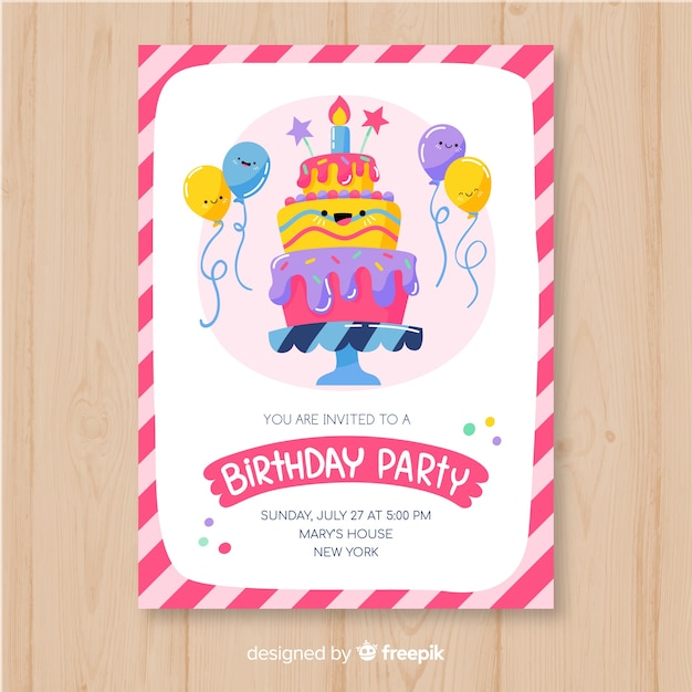 Birthday invitation template in hand drawn style Free Vector