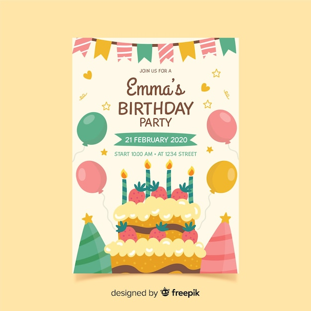 Birthday invitation template in hand drawn style Premium Vector