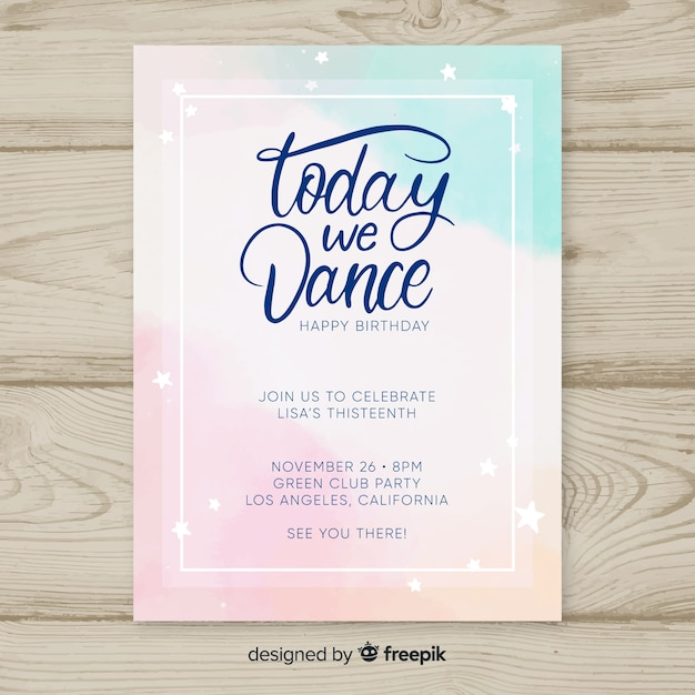 Birthday Invitation Template In Watercolor Style Vector