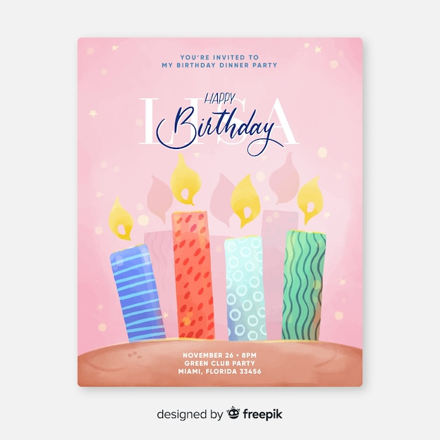 Birthday invitation template in watercolor style Free Vector