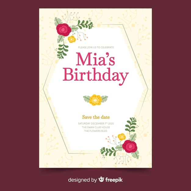 Birthday invitation template with floral design Free Vector
