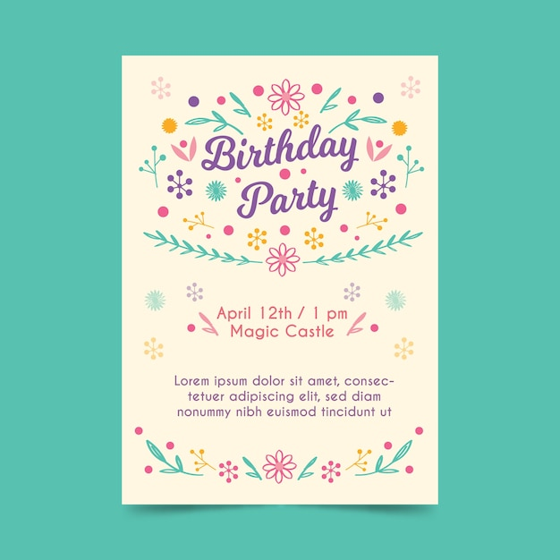 Birthday invitation template with flowers Free Vector