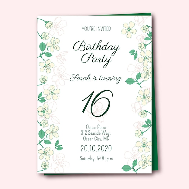 Modello di invito di compleanno con fiori Vettore gratuito