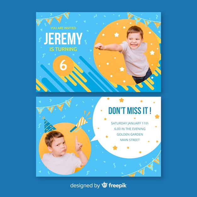 Birthday invitation template with photo Free Vector