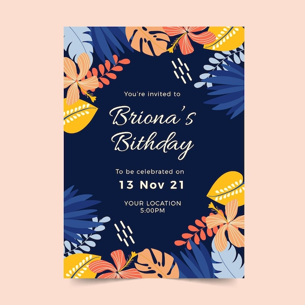 熱帯の葉と誕生日の招待状のテンプレート 無料ベクター