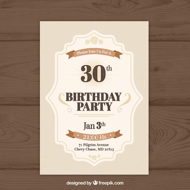 Birthday Invitation In Vintage Style Vector