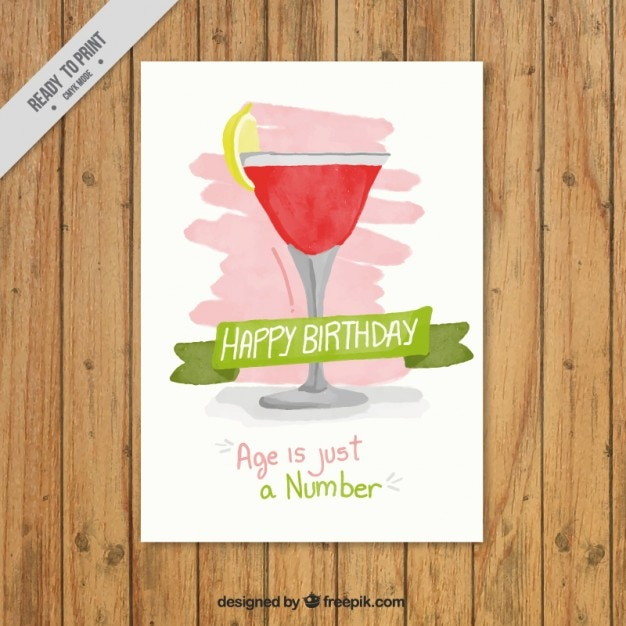Birthday invitation with a cocktail Free Vector