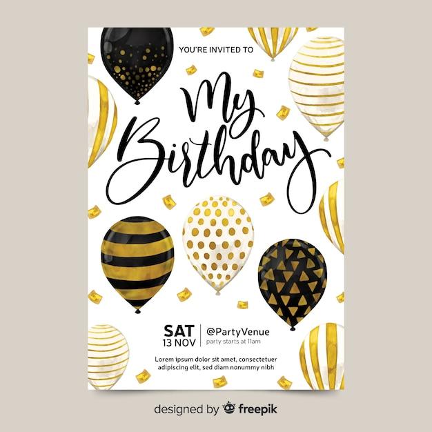Birthday invitation with balloons Free Vector