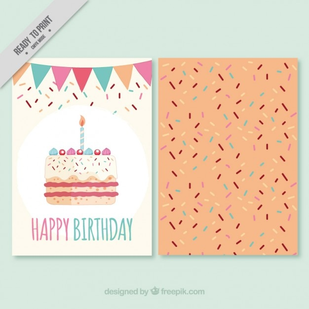 Birthday invitation with big cake
