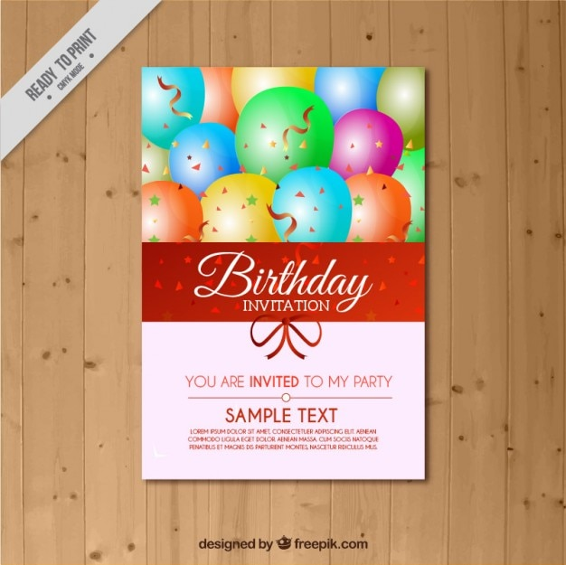 Birthday invitation with colored\ background