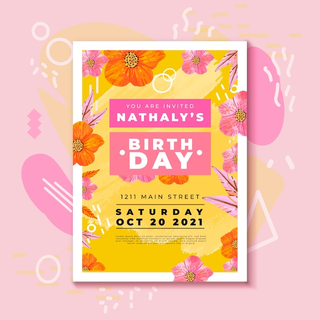 Birthday invitation with colorful flowers Free Vector