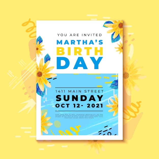 Birthday invitation with colourful flowers Free Vector