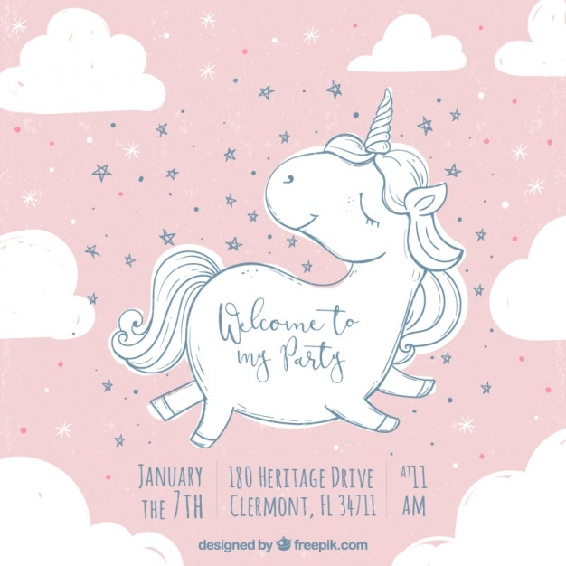 Birthday Invitation With Cute Unicorn Sketch Stock Images Page
