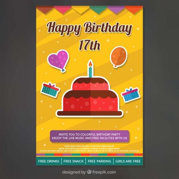 Приглашение на день рождения с декоративных элементов в плоской конструкции Бесплатные векторы