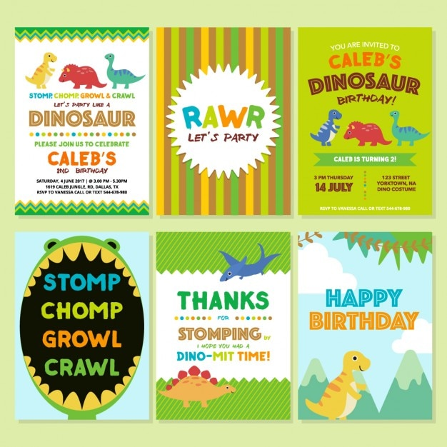 Birthday Invitation With Dinosaurs Free Vector