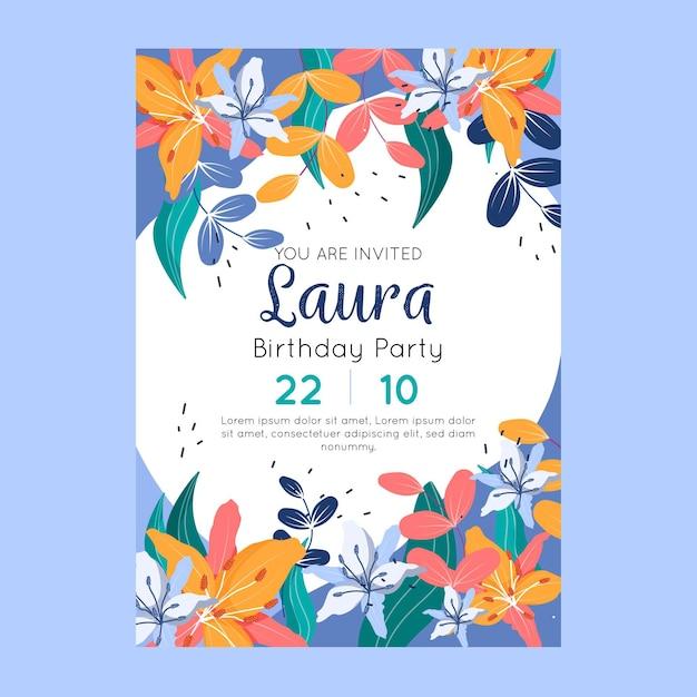 Invito di compleanno con fiori e foglie Vettore gratuito