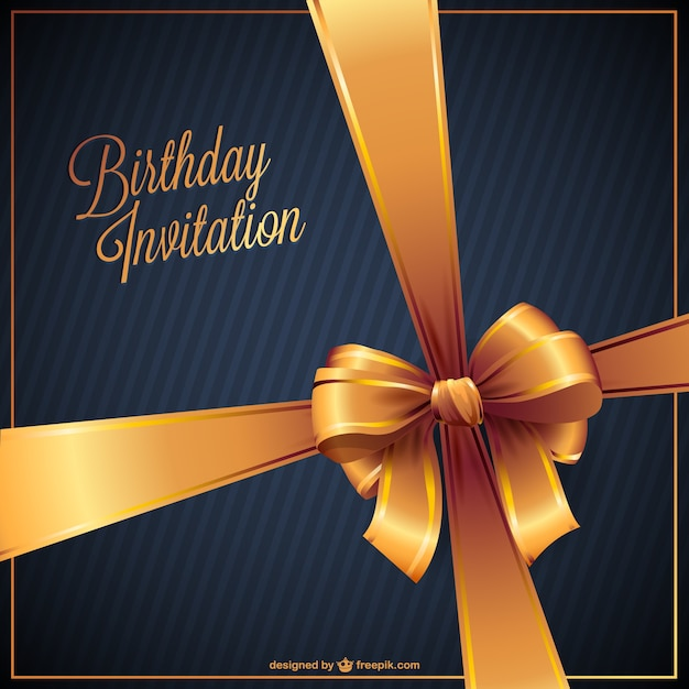 Birthday Invitation With Golden Ribbon Free Vector  Birthday Invitations Free Download